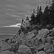 Bass Harbor Black And White   Poster