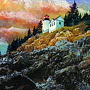 Bass Harbor Lighthouse Sunset Poster