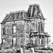 Bates Motel Haunted House Black And White Poster