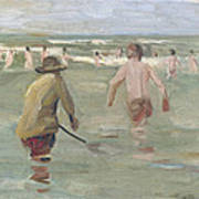 Bathing Boys With Crab Fisherman Poster