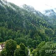 Bavarian Mountain Slope With Mist Poster