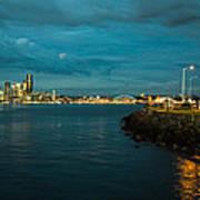 Bay And City At Night Poster