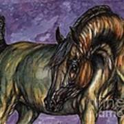 Bay Horse On The Purple Background Poster