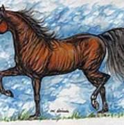 Bay Horse Running Poster