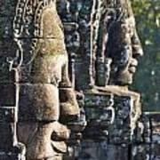Bayon Faces - Angkor Wat - Cambodia Poster