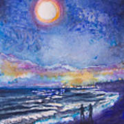 Beach At Night Poster by Patricia Allingham Carlson