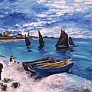 Beach At Sainte Adresse Monet Poster