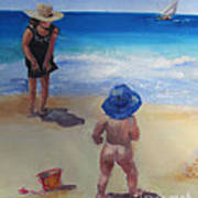 Beach Baby With Blue Hat Poster