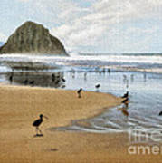 Beach Birds Impasto Poster