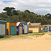 Beach Boxes Mount Martha Poster by Rachael Curry