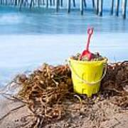 Beach Bucket In Sand Poster