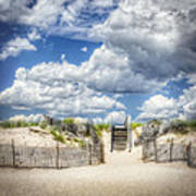 Beach Clouds And Fence Poster by Vicki Jauron