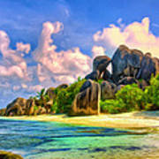 Beach Cove On La Digue Poster