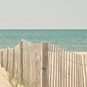 Beach Fence Ocean Shabby Photograph Poster by Elle Moss