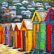 Beach Houses At Fish Hoek Poster