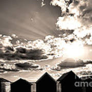 Beach Huts In Black And White Poster