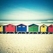 Beach Huts Muizenberg Retro Poster