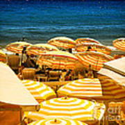 Beach In Cannes  Poster by Elena Elisseeva