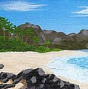 Beach On Helicopter Island Poster