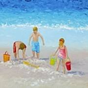 Beach Painting - Sandcastles Poster
