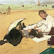 Beach Scene Little Girl Having Her Hair Combed By Her Nanny Poster by Edgar Degas