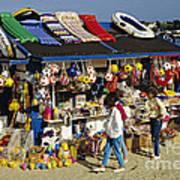 Beach Scene Weymouth Uk 80s Poster by David Davies