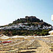 Beach View Of Lindos Poster