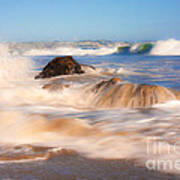 Beach Waves Smoothly Flowing Over The Rocks Fine Art Photography Print Poster