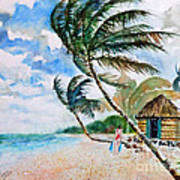 Beach With Palm Trees Poster
