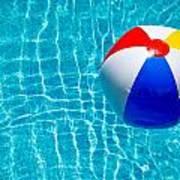 Beachball On Pool Poster