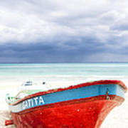 Beached Beyond The Storm - Riviera Maya Poster