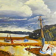 Beached Boat And Fishing Boat At Gippsland Lake Poster