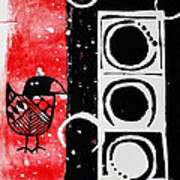 Beak In Red And Black Poster by Cynthia Lagoudakis