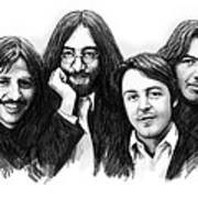 Beatles blackwhite drawing sketch poster Poster