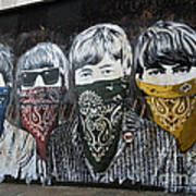 The Beatles wearing face masks street mural Poster