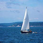 Beautiful Boat Sailing At Puget Sound Poster