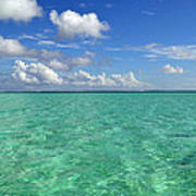 Beautiful Bora Bora Green Water And Blue Sky Poster
