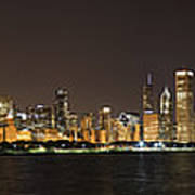 Beautiful Chicago Skyline With Fireworks Poster