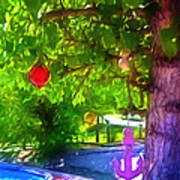 Beautiful Colored Glass Ball Hanging On Tree 1 Poster