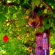 Beautiful Colored Glass Ball Hanging On Tree 2 Poster