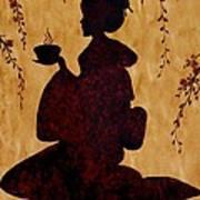 Beautiful Geisha Coffee Painting Poster