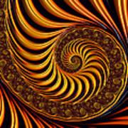 Beautiful Golden Fractal Spiral Artwork  Poster by Matthias Hauser
