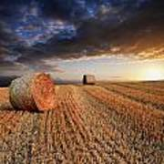 Beautiful Hay Bales Sunset Landscape Digital Painting Poster