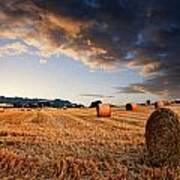 Beautiful Hay Bales Sunset Landscape Digital Paitning Poster