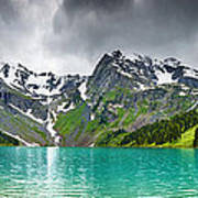 Beautiful Mointain And Lake Art Poster