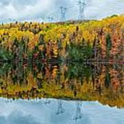 Beautiful Reflections Of A Autumn Forest In A Lake Poster
