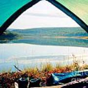 Beautiful View Of Calm Lake Looking Out Of Tent Poster