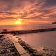 Beautiful Waikiki Sunset Poster by Tin Lung Chao