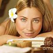Beautiful Woman On Massage Table Poster