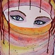 Beautiful Woman With Niqab Watercolor Painting Poster